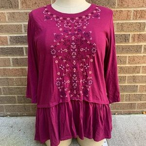 LOGO Lori Goldstein Embroidered Floral Tunic Top